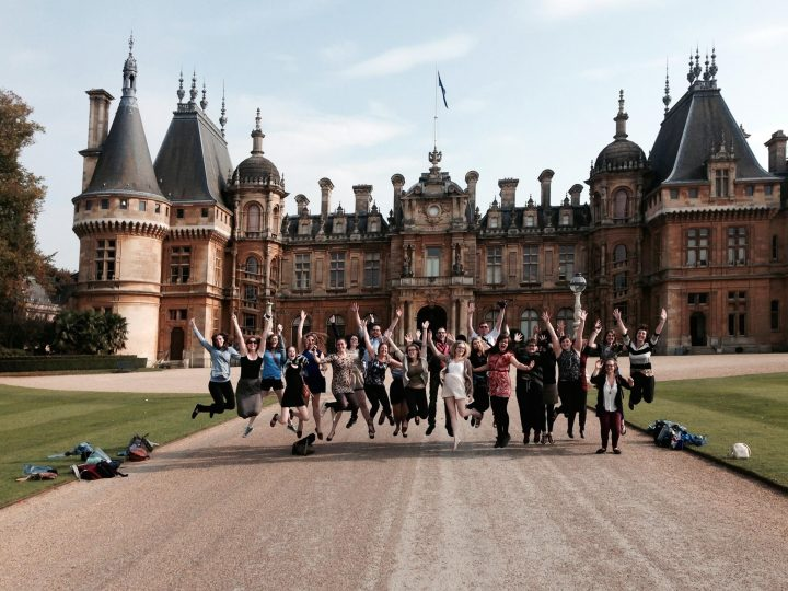 Students participating in a semester at Memorial's Harlow Campus kick up their heels at an English manor house.